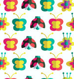 Decorative seamless pattern with insects and flowers  Background with ladybirds, flowers and butterflies Royalty Free Stock Photos