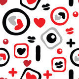 Decorative seamless pattern with love symbols Stock Photo