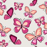 Decorative seamless pattern with pink butterflies. Decorative seamless pattern with a pink butterflies Royalty Free Stock Photo