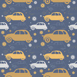 Decorative seamless pattern with retro cars. Perfect template for wallpaper, retro card, paper, linen, tissue, design fabric and more creative designs stock illustration
