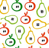 Decorative seamless pattern in scandinavian style. Colorful backdrop with apples and pears. Decorative seamless pattern in scandinavian style. Colorful backdrop royalty free illustration