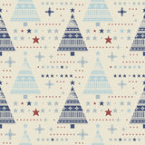 Decorative seamless pattern with stars, christmas trees, snowfla Royalty Free Stock Image