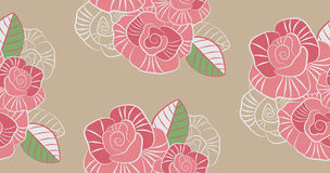 Decorative seamless pattern of the stylized roses Stock Image