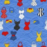 Trendy vector seamless pattern with cute swimsuits. Decorative seamless pattern with swimsuits. Dry brush painted swimwear, trendy texture. Hand drawn endless vector illustration