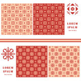 Decorative seamless pattern. Symbol element. Abstract template set of cards. Lace ornament, mandala. Arabic, Islam design elements Royalty Free Stock Photo