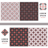 Decorative seamless pattern. Symbol element. Abstract template set of cards. Lace ornament, mandala. Arabic, Islam design elements Royalty Free Stock Photos