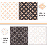 Decorative seamless pattern. Symbol element. Abstract template set of cards. Lace ornament, mandala. Arabic, Islam design elements Stock Photo