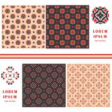 Decorative seamless pattern. Symbol element. Abstract template set of cards. Lace ornament, mandala. Arabic, Islam design elements Stock Photography