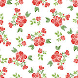 Decorative seamless patterns with red roses, leaves and branches. Royalty Free Stock Photo