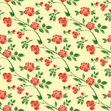 Decorative seamless patterns with red roses, leaves and branches. Vector illustration. Best for your design, Tattoo, invitations, greeting cards, textiles Stock Photography