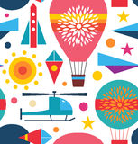 Decorative seamless sky pattern  Background with air balloon, helicopter, kite, airplane sky rocket Stock Image
