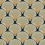 Seamless vector pattern with beige seashells on navy background royalty free illustration
