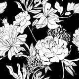 Decorative seamless wallpaper. With white flowers on black background Royalty Free Stock Photos