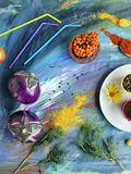 Decorative seasonal composition of vegetables, spices, fruits and flowers. On a colorful textured background, cooking homemade food, top view stock photo