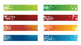 Decorative seasonal floral banners stock illustration