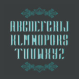 Decorative serif latin font. Graphical vintage capital letters. Blue objects royalty free illustration