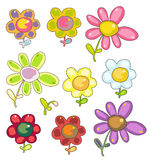 Set of cartoon flowers Stock Images