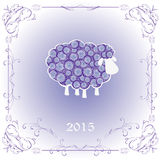 Decorative sheep. In light frame Stock Image