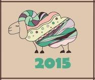 Decorative sheep New Year illustration. Decorative  sheep New Year illustration 2015 Stock Image