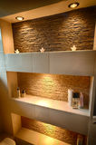 Decorative shelf. Of a modern bathroom stock photos