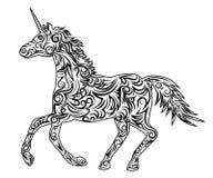 Decorative colorful unicorn 46. Decorative silhouette of a unicorn with a black color ornament vector illustration horse Stock Photos