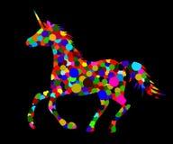 Fantastic colorful unicorn 25. Decorative silhouette of a unicorn with a multicolored circle ornament vector illustration horse Stock Image