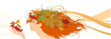 Decorative silhouette of woman with autumn leaves. Royalty Free Stock Photography
