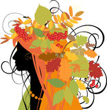 Decorative silhouette of woman with autumn leaves. Royalty Free Stock Images