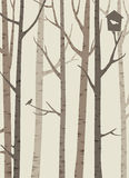 Decorative silhouettes of trees with a bird and birdhouse Royalty Free Stock Images