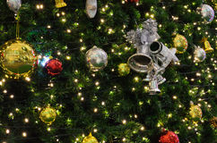 Decorative silver bell. On a christmas tree Royalty Free Stock Photo