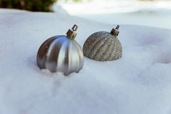 Decorative silver christmas background Stock Images