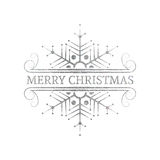 Decorative silver Christmas design element. Decorative silver textured Christmas design element. Typographic vintage Christmas label, frame, border, badge and Stock Photography
