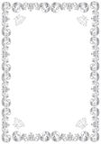 Decorative silver frame. An illustration of a fancy, silver frame or border with a classic decorative design.  White background Stock Images