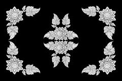 Decorative silver frame isolated on black background Royalty Free Stock Photo