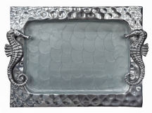 Decorative silver tray  with sea Horse Stock Photo