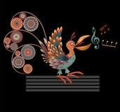 Bird singer. Decorative singing bird. Vector illustration on black background Royalty Free Stock Photos