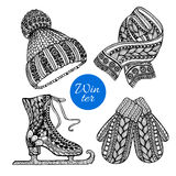 Decorative skates mittens scarf doodle icons Royalty Free Stock Images