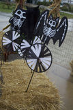 Decorative Skeleton Bats Staked into Hay Bales Say 'Happy Halloween' to Pumpkin Patch Visitors Stock Images