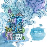 Decorative sketch of city. Christmas background Royalty Free Stock Photo
