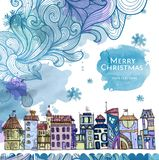 Decorative sketch of city. Christmas background Stock Image