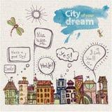 Decorative sketch of city Royalty Free Stock Photo