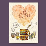 Decorative sketch of cup of coffee Stock Photography
