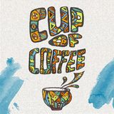 Decorative sketch of cup of coffee Royalty Free Stock Photo