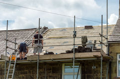 Decorative slate roof restoration in Wales. Royalty Free Stock Photo