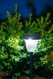 Small Solar Garden Light, Lantern In Flower Bed. Garden Design. Decorative Small Solar Garden Light, Lanterns In Flower Bed In Green Bushes. Garden Design Royalty Free Stock Photography