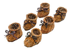 Decorative small wicker shoes Stock Photography