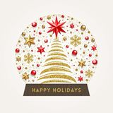 Christmas snow globe with Christmas tree Royalty Free Stock Images