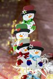Decorative snow men. Hand-made decorative snowmobiles for Christmas stock photography