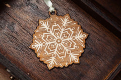 Decorative snowflake. Decoration for the Christmas tree Royalty Free Stock Image