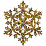 Decorative snowflake made of small stars confetti Royalty Free Stock Photography